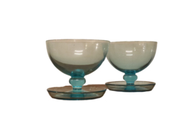 Set van 2 blauwe glaasjes