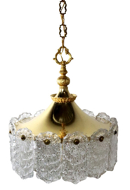 Messing hanglamp met frosted iced glas