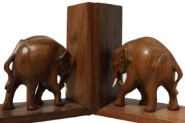 Houten set boekensteunen met olifant