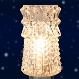 Glazen tafellampje met houten voet