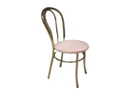 Messing stoel met roze velvet zitting (meerdere aanwezig)