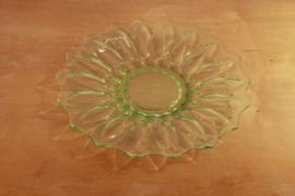 Groen glazen taartbord