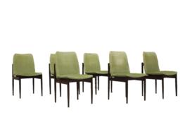 Set van 6 Thereca eetkamerstoelen groen velours