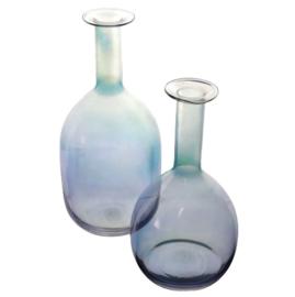 Set van 2 glazen vazen