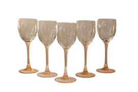 Set van 5 wijnglazen met een roze voet