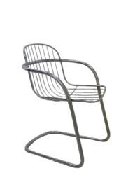 Chromen eettafel + 4 stoelen