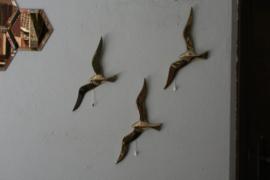 Set van 3 messing vintage wandvogels