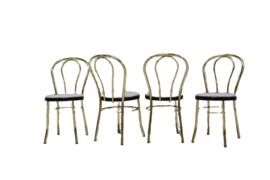 Messing stoel met lichtblauwe zitting (meerdere aanwezig)