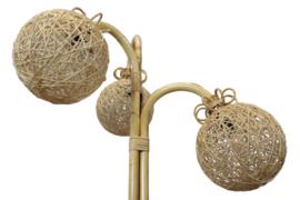 Bamboe vloerlamp met 3 bollen