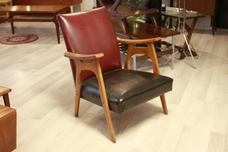 Vintage tweekleurig fauteuil