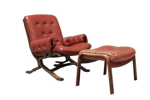 Jaren 70 fauteuil met voetenbank
