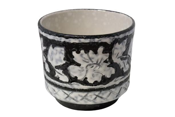 Zwart / witte bloempot