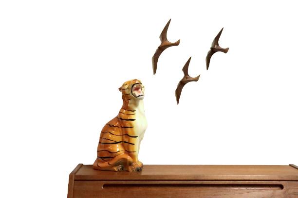 Set houten meeuwen 3 stuks | 17.5 - 21 -25.5 cm