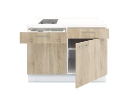 Keukenblok 120 cm x 60 cm  incl.  kookplaat + bergruimte zonder spoelbak RAI-399