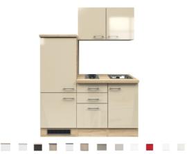 Kitchenette Neapel Kasjmier 160cm incl. koelkast en e-kookplaat en spoelbak HRG-615