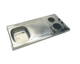 RVS opleg aanrechtblad elektrische kookplaat en spoelbak 100 x 60 mm HRG- 8348