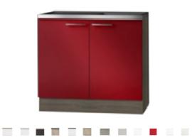 Keukenblok Imola Rood met RVS blad  100 x 60 cm HRG-3103
