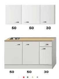 Kitchenette Wit hoogglans 130 CM incl. rvs spoelbak HRG-13225