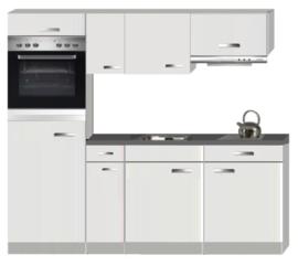 Keukenblok Lagos wit hoogglans 210 cm Incl. koelkast, oven, kookplaat en afzuigkap RAI-8462