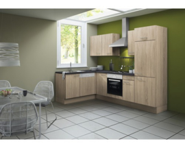 L-Keuken Lasse 270 x 160 cm licht eiken ruw incl. Inbouwapparatuur