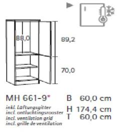 Hogekast 60 x 174cm voor inbouw koelkast