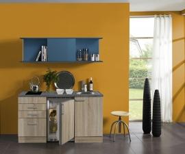 Kitchenette/buffetkast 150 cm met blauw schuif rek Incl. keramisch kookplaat en koelkast + RVS spoelbak KT156-9-365