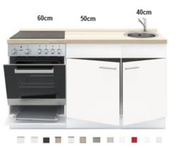 Keukenblok 150 x 60 cm incl. oven + kookplaat + spoelbak en wandkasten RAI-390