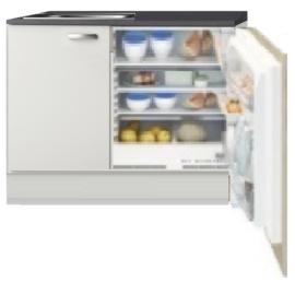 Kitchenette 110cm wit hoogglans incl inbouw koelkast RAI-1046