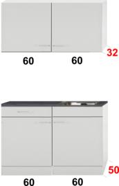 Kleine keuken 120cm x 50cm diep met een la en rvs spoelbak en wandkasten RAI-9912