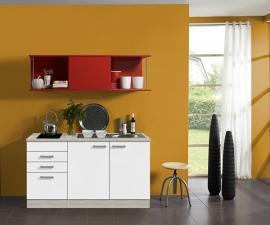 Kitchenette/buffetkast 150 cm met rood schuif rek Incl. keramisch kookveld en RVS spoelbak KT156-9-365