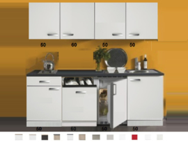 Kitchenette 210 cm wit hoogglans met vaatwasser en koelkast en kookplaat RAI-4533