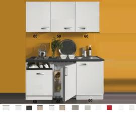 Kitchenette 170 cm wit hoogglans met vaatwasser en koelkast en kookplaat RAI-40