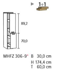 Apothekerskast Faro Antraciet 30x174x60cm (BxHxD) HFZ319-9-573