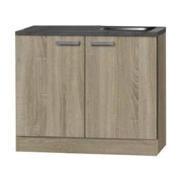 Keukenblok Neapel licht eiken ruw met houten wertkblad + rvs spoelbak 100 x 60 cm HRG-103