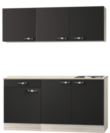 Kitchenette Faro Antraciet 150cm met E-kookplaat en spoelbak HRG-7329