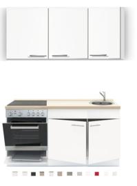 Keukenblok 150 x 60 cm incl. oven + kookplaat + spoelbak en wandkasten RAI-389