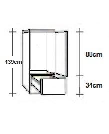 Hogekast 60 x 139cm voor inbouw koelkast 88cm hoog