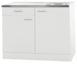 Keukenblok Wit met een la, RVS aanrecht 100 cm x 60 cm SPLSO106-6-42