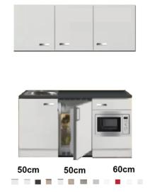 Keukenblok 160 wit hoogglans met wandkasten incl rvs spoelbak en koelkast en magnetron RAI-516