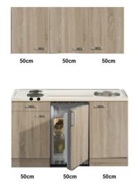 kitchenette 150cm met  rvs werkblad en koelkast RAI-332
