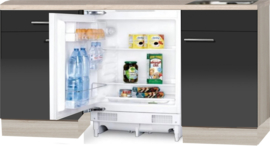 kitchenette 180cm antraciet-glans met koelkast RAI-4430