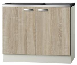 Keukenblok Padua licht eiken ruw met rvs aanrecht en spoelbak 100 x 60 cm HRG-10