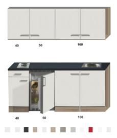 Keukenblok 190cm gebroken wit-eiken incl 2-pit kookplaat en wandkasten