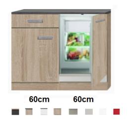 keukenblok 120cm met inbouw koelkast RAI-1010