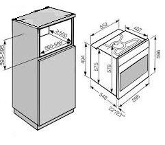 Hogekast 174cm voor inbouw oven 60x60cm hoog