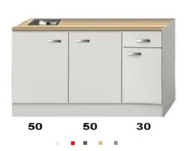 Kitchenette Wit hoogglans 130 CM incl. rvs spoelbak zonder wandkasten HRG-0258