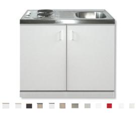 Keukenblok 60x100 Wit met e-kookplaat + RVS aanrechtblad RAI-199
