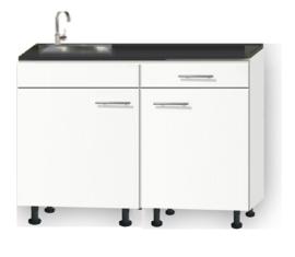 Kitchenette 110cm wit zijdeglans met een la op stelpoten incl plinten RAI-112