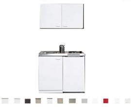 Keukenblok 100cm x 60cm + E-kookplaat + koelkast en bovenkasten 9429