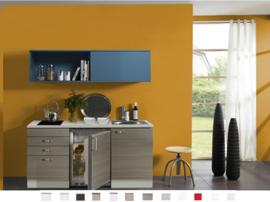 Kitchenette 150 cm met blauw schuif rek Incl. keramisch kookplaat en rvs spoelbak KT158-9-365